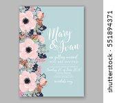 anemone wedding invitation card ... | Shutterstock .eps vector #551894371