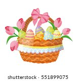 easter basket with eggs and... | Shutterstock .eps vector #551899075