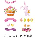 Easter Set With Rabbit  Basket...