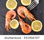 red argentine shrimps  head on  ... | Shutterstock . vector #551906707