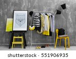 fashionable clothes hanging on... | Shutterstock . vector #551906935