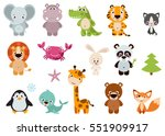 Stock vector big set isolated animals vector collection funny animals cute animals forest farm domestic 551909917