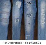 Set Of Four Blue Leg Jeans...