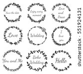 set of hand drawn floral wreath....   Shutterstock .eps vector #551924131