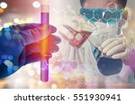 double exposure of scientist... | Shutterstock . vector #551930941