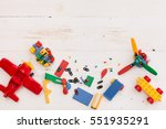 Top view on colorful toy bricks ...