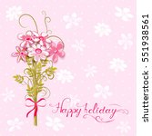 greeting card with bouquet of... | Shutterstock .eps vector #551938561