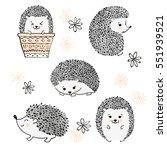 set of cute watercolor... | Shutterstock . vector #551939521