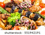 mixed grilled meat and... | Shutterstock . vector #551942191