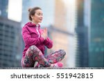 young happy woman with closed... | Shutterstock . vector #551942815