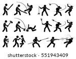 man using medieval war melee... | Shutterstock .eps vector #551943409