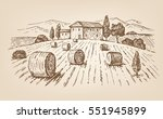vector hand drawn village... | Shutterstock .eps vector #551945899