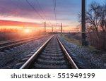railroad against beautiful... | Shutterstock . vector #551949199