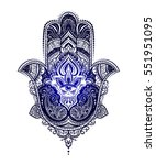 hand drawn ornate amulet hamsa... | Shutterstock .eps vector #551951095