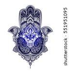 hand drawn ornate amulet hamsa... | Shutterstock .eps vector #551951095