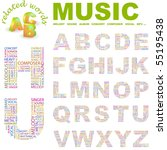 music. vector letter collection.... | Shutterstock .eps vector #55195438