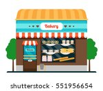 bakery shop front veiw flat... | Shutterstock .eps vector #551956654