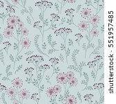 floral pattern with leaves and... | Shutterstock .eps vector #551957485