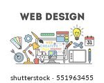 web design illustration with... | Shutterstock .eps vector #551963455
