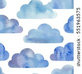 watercolor clouds seamless... | Shutterstock .eps vector #551963575