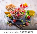 healthy homemade chickpea and... | Shutterstock . vector #551965429