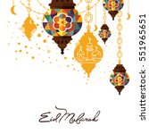 eid mubarak greeting card... | Shutterstock .eps vector #551965651