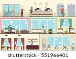 hotel indoors interior set.... | Shutterstock .eps vector #551966401