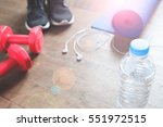 fitness concept with bottle of... | Shutterstock . vector #551972515