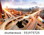 aerial view of the city viaduct ... | Shutterstock . vector #551975725