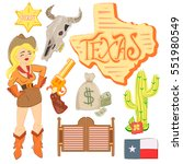 hand drawn cowboy icons set... | Shutterstock .eps vector #551980549