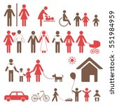 set of colorful family icons... | Shutterstock .eps vector #551984959