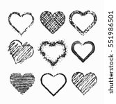 set of isolated grunge hearts.... | Shutterstock .eps vector #551986501