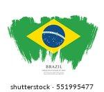 flag of brazil  brush stroke... | Shutterstock .eps vector #551995477