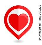 map pointer with heart icon.... | Shutterstock .eps vector #551996329