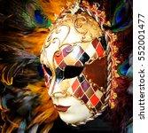 Venetian Mask With Plumage.