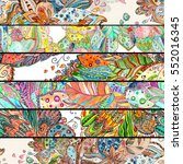 floral mix of ethnic horizontal ...   Shutterstock . vector #552016345