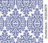 blue ikat ogee and damascus... | Shutterstock .eps vector #552018079