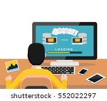 copying files or files transfer ... | Shutterstock .eps vector #552022297