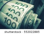 rolled polish zloty banknotes... | Shutterstock . vector #552022885
