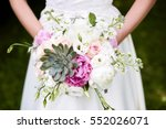 bridal bouquet with peonies and ... | Shutterstock . vector #552026071