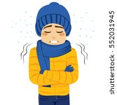 young man freezing wearing... | Shutterstock .eps vector #552031945