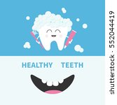 healthy tooth holding paste and ... | Shutterstock .eps vector #552044419