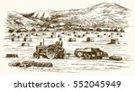 tractor collecting haystack in... | Shutterstock .eps vector #552045949