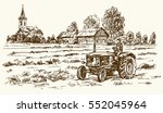 tractor collecting haystack in... | Shutterstock .eps vector #552045964
