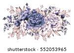 blue peonies. watercolor... | Shutterstock . vector #552053965