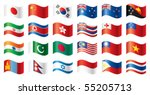 Wavy Flags Set   Asia. 24...