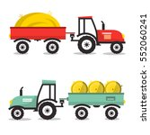 vector tractor with dray. flat... | Shutterstock .eps vector #552060241