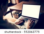 man using  working on laptop... | Shutterstock . vector #552063775