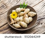 Jerusalem Artichoke On Wooden...