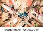 top view of friend hands with... | Shutterstock . vector #552069949